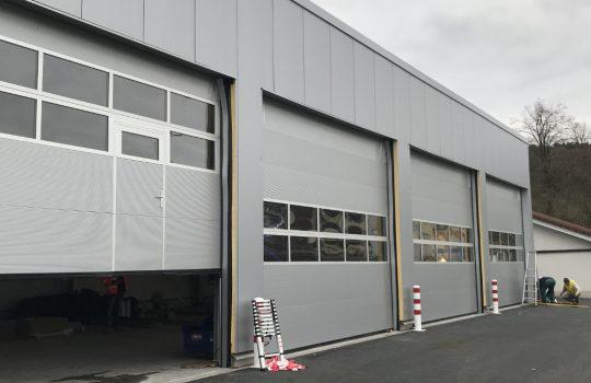 Fahrzeughalle auf dem Gelände der Kläranlage Hennef